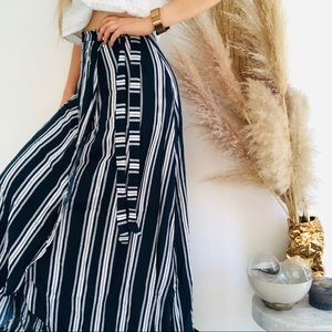 SMYM MUMU Navy White Siren Stripe Maxi Skirt Small